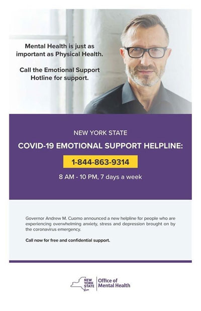 Covid-19 Emotional Support Hotline 1-844-863-9314
